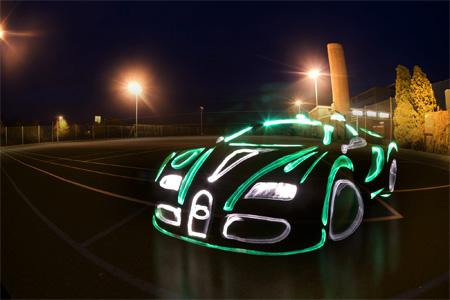 Bugatti Veyron Light Graffiti