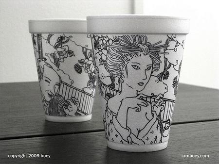 Styrofoam Cup Drawings