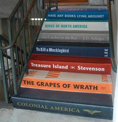 Literacy Association Stairs Advertisement