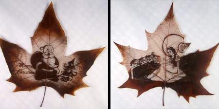 Real Leaf Carvings