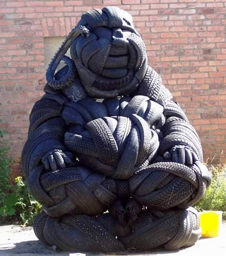 Buddha Tire Sculpture