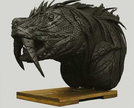 Animal Head Tire Sculpture
