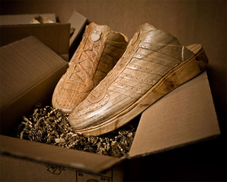 Sneakers carved out of Wood