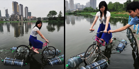 Modified Bicycle Rides on Water