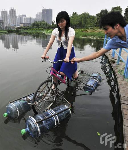 Homemade Amphibious Bicycle