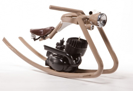 Motorcycle inspired rocking horse for Scooter rocking horse