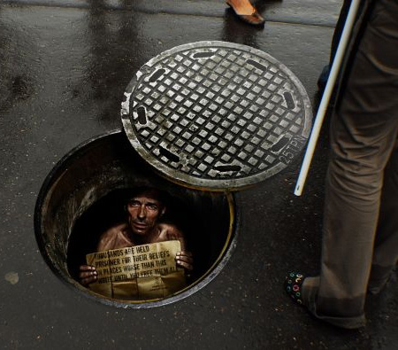 Amnesty International Manhole Sticker
