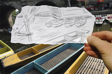 Drawing Combined with Photograph