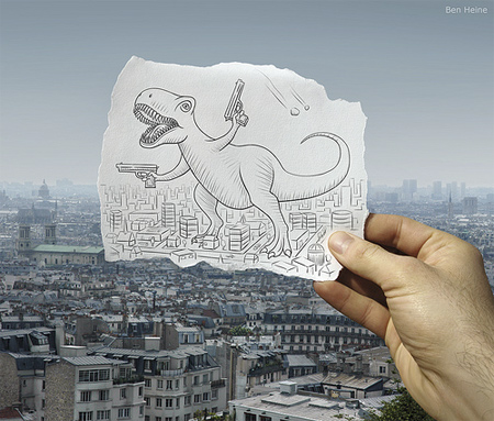 Drawing Combined with Photo