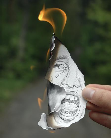 Burning Pencil Drawing
