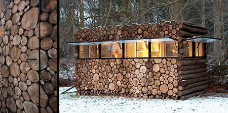 Backyard Office Hidden in Logs