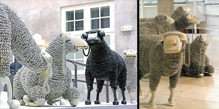Rotary Phone Sheep Sculptures