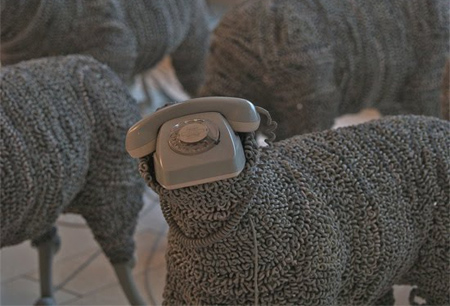 Telephone Sheep Sculptures