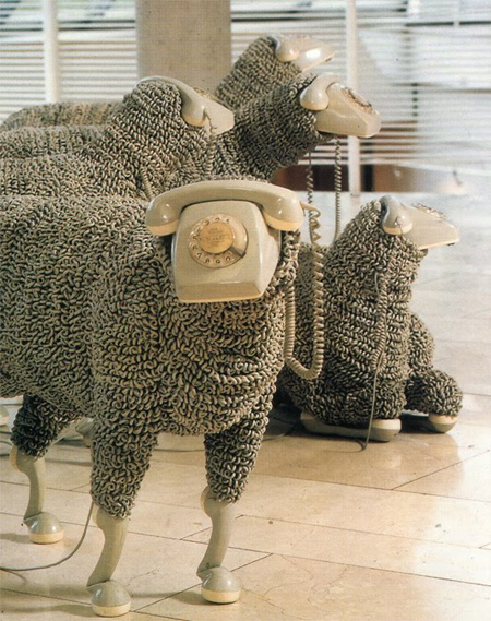 Rotary Phone Sheep Sculpture