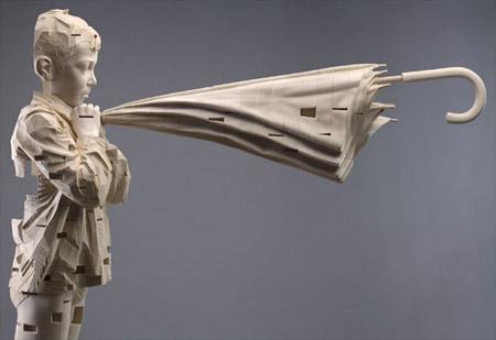Wooden Sculptures by Gehard Demetz
