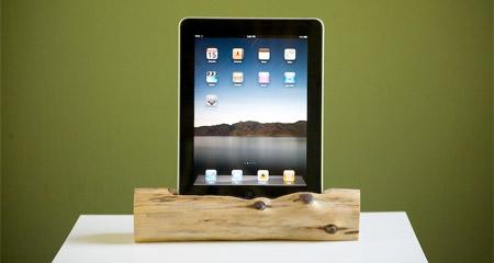 Wooden iPad Dock