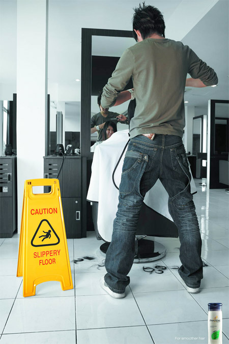 Pantene Slippery Floor Sign