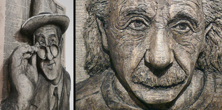 3D Portraits made from Phone Books