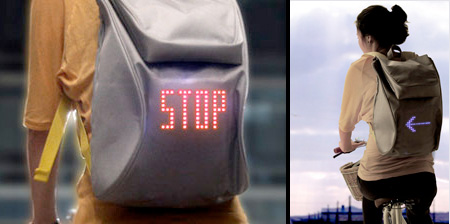 Cycling Backpack Shows Turn Signals