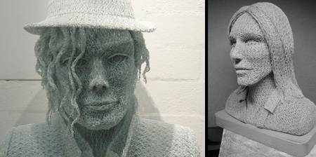 3D Portraits made from Chicken Wire