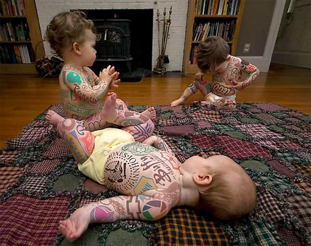 Babies Covered with Logos