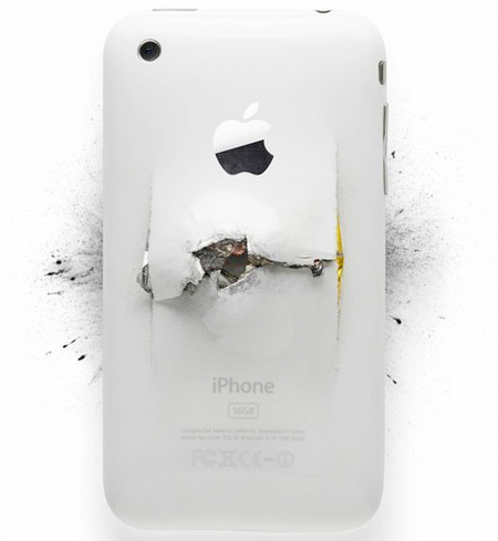Destroyed Apple iPhone