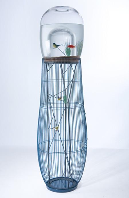Bird Cage and Aquarium Combo