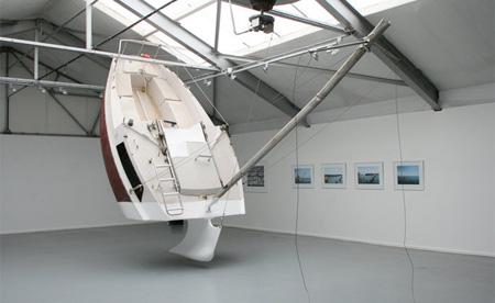 Sinking Yacht Sculpture