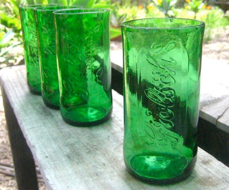 bottles transformed into glasses