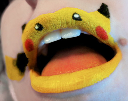Pikachu Face Paint http://www.toxel.com/inspiration/2011/02/11/animals-painted-on-lips/