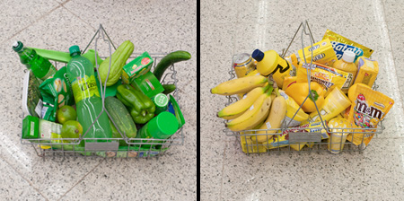 Groceries Arranged by Color