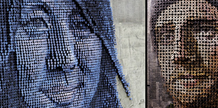 3D Portraits Made of Screws