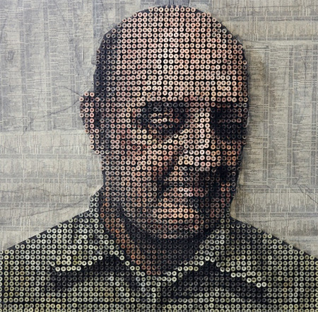 3D Portrait Made of Screws