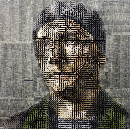 Portrait Made of Screws
