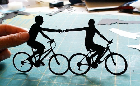 Paper Couple on Bikes