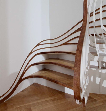 The staircase was formed from a series of tree branch inspired threads