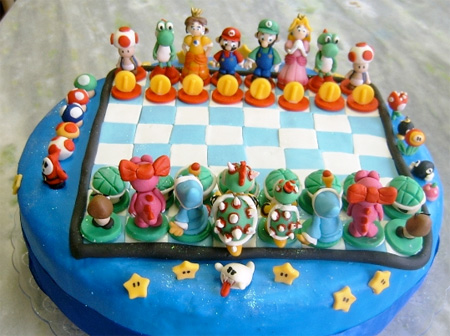 Super Mario Chess Set Cake