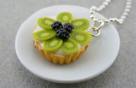 Kiwi and Blackberry Tart Necklace
