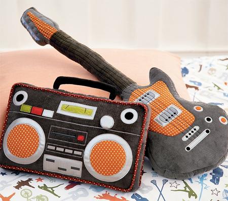 Boombox and Guitar Pillows