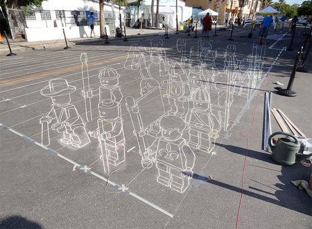 LEGO Chalk Drawing
