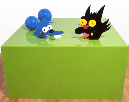 Itchy and Scratchy Sculpture