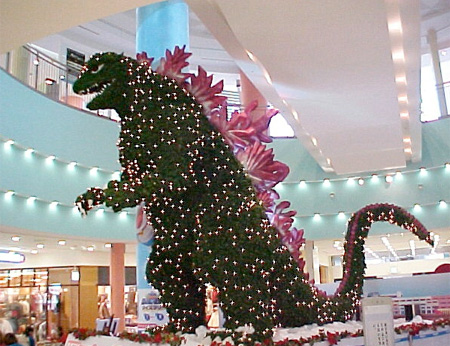 Godzilla Christmas tree in shopping mall