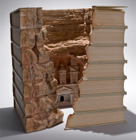 Mountain Village Carved Into Books