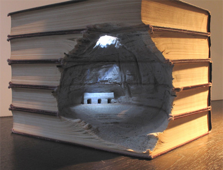 Cave Carved Into Books