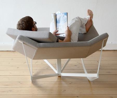 Comfortable rocking chair created by German designer Markus Krauss .