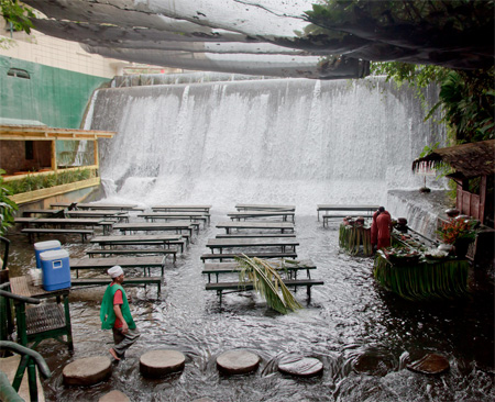 Restaurant Under Waterfall