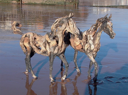 Driftwood Horses by Heather Jansch