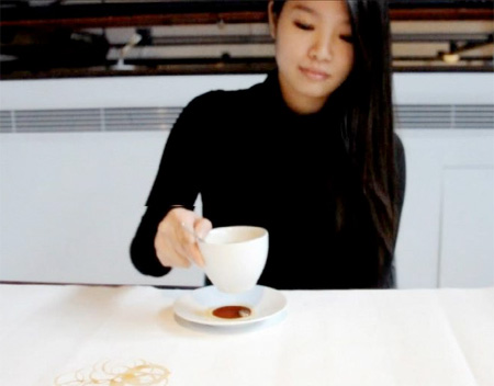 Artist Paints with Coffee