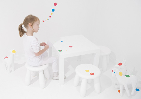 Children Covered Room with Stickers