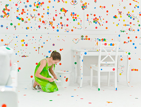 Room Covered in Stickers